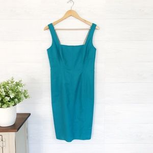 Elie Tahari Teal Fitted Sleeveless Mini Dress 290